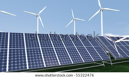 Animation presenting a field of photovoltaic panel in high definition - stock photo