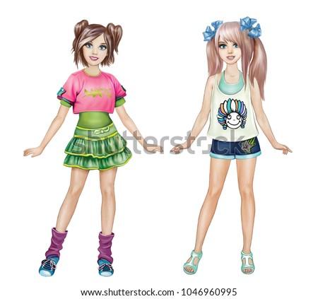 anime teenage girls summer clothes stylish stock illustration