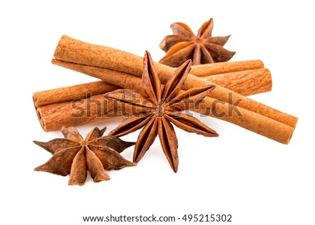 Anise and cinnamon sticks on white. Winter spices closeup.