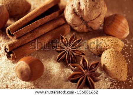 Anise, cinnamon and nuts on the cane sugar - stock photo