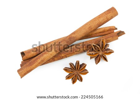 anise ingredients close up isolated on white background,  file includes a excellent clipping path - stock photo
