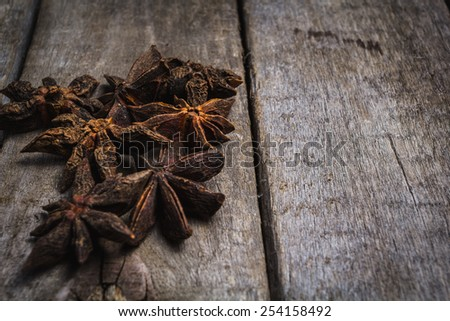 Anise spices for prepare tasty food with soft shadow in the wooden background - stock photo