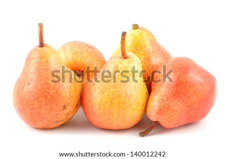 Anjou pears on a white background close-up - stock photo