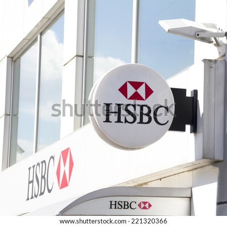 Ankara - JUN 21: HSBC Bank branch on JUNE 21, 2014 in Ankara, Turkey. it is the world's one of the largest banking and financial services group. HSBC exists since 1865. - stock photo