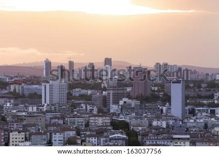 Ankara silhouette, Capital city of Turkey - stock photo