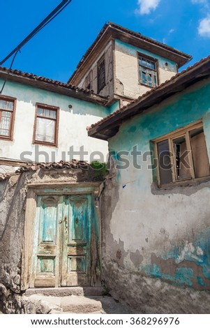 ANKARA, TURKEY - APRIL 09, 2009: House with crumbling paintwork in the old town