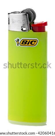 Ankara, Turkey - April 29, 2016: Product shot of a BIC cigarette lighter isolated on white background.  Green BIC Lighter Isolated      - stock photo