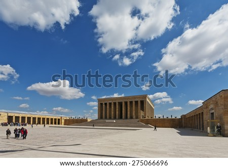 ANKARA, TURKEY APRIL 15: Unidentified visitors  in Peace Park at the mausoleum of Ataturk on April 15, 2012 in Ankara, Turkey prior to Anzac Day.   - stock photo