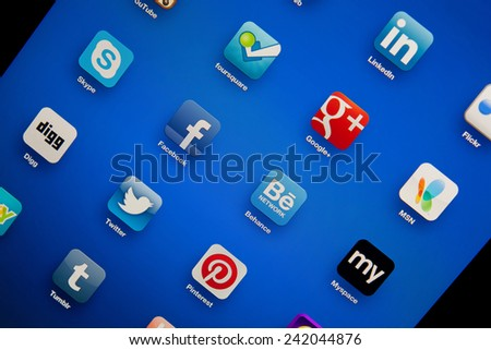 Ankara, TURKEY, Aug 26, 2012. Popular social media application icons on digital tablet computer screen. - stock photo