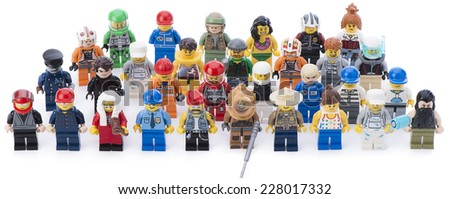 Ankara, Turkey  February 12, 2014: Studio shot of different types of Lego minifigures isolated on white background. - stock photo