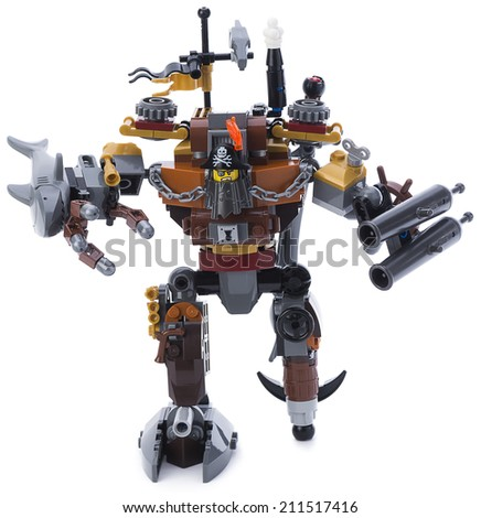 Ankara, Turkey - February 15, 2014 : Studio shot of Lego Movie character Metalbeard isolated on white background.  - stock photo