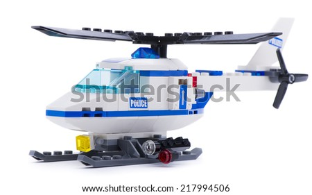 Ankara, Turkey - July 18, 2013: Lego Police Helicopter isolated on white background - stock photo