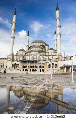 Ankara, Turkey - Kocatepe mosque and reflection on rain water - stock photo