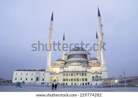 Ankara - Turkey, Kocatepe Mosque at dusk - stock photo