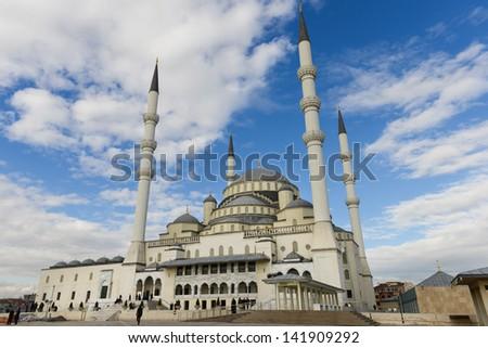 Ankara, Turkey - Kocatepe Mosque in a cloudy day - stock photo