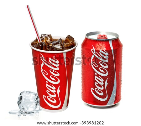 ANKARA TURKEY - March 20, 2016 Editorial photo of Classic Coca-Cola can and cup on white background. Coca-Cola Company is the most popular market leader in Turkey.  - stock photo