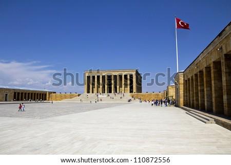 Ankara, Turkey - Mausoleum of Ataturk, Mustafa Kemal Ataturk, first president of the Republic of Turkey. - stock photo