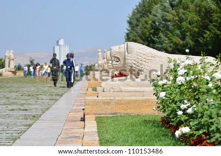 Ankara - Turkey, Mausoleum of Ataturk, Soldiers  during shift change at Lions Road - stock photo