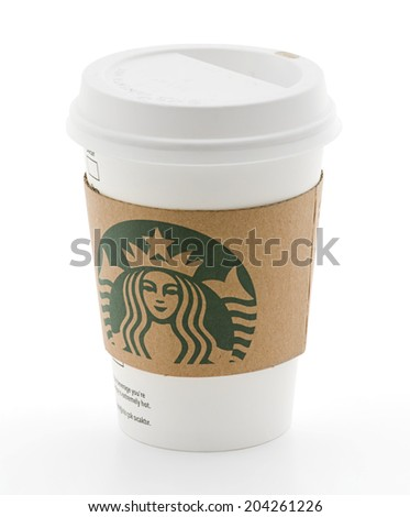 Ankara, Turkey - May 31, 2012: Cup of Starbucks Coffee, Isolated on white background - stock photo