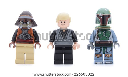 Ankara, Turkey - May 23, 2013: Lego Star Wars Desert Skiff minifigures Luke Skywalker, Boba Fett and Kithaba isolated on white background. - stock photo