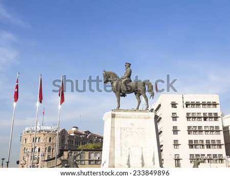 ANKARA, TURKEY - NOV 12: Ataturk monument in city center, Ulus square shown on NOV 12, 2014 in Ankara. Ulus is old city center of Ankara,Capital city of Turkey - stock photo