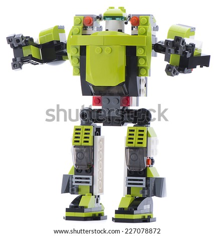 Ankara, Turkey - November 23, 2013: Lego Creator Power Mech futuristic battle robot with moving arms, grabbing claws and leg-mounted boosters isolated on white background. - stock photo