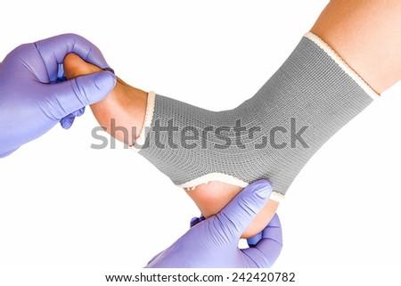 Ankle brace on white background - stock photo