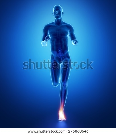 ANkle - running man leg scan in blue - stock photo