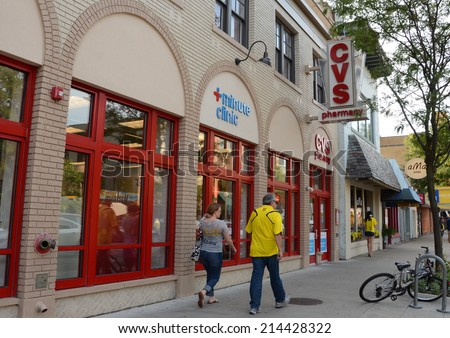 ANN ARBOR, MI - AUGUST 30: CVS, whose downtown Ann Arbor store is shown on August 30, 2014, has over 7,600 stores in the United States.  - stock photo