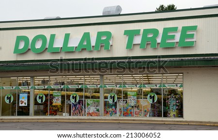 ANN ARBOR, MI - AUGUST 24: Dollar Tree, whole Ann Arbor store is shown on August 24, 2014, is in a bidding war for Family Dollar, a rival.   - stock photo