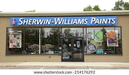 ANN ARBOR, MI - AUGUST 24: Sherwin Williams, whose east Ann Arbor store is shown on August 24, 2014, has over 3,500 stores worldwide.  - stock photo