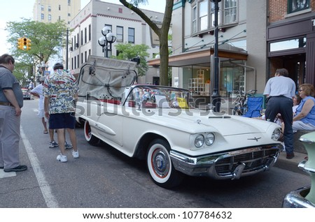 ANN ARBOR, MI - JULY 13: 1960 Ford Thunderbird at the Rolling Sculpture car show July 13, 2012 in Ann Arbor, MI. - stock photo