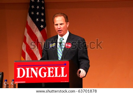 "ANN ARBOR, MI - OCTOBER 24: Genesee County prosecutor David Leyton, candidate for Michigan Attorney General, speaks at a ""get out the vote"" rally October 24, 2010 in Ann Arbor, MI."