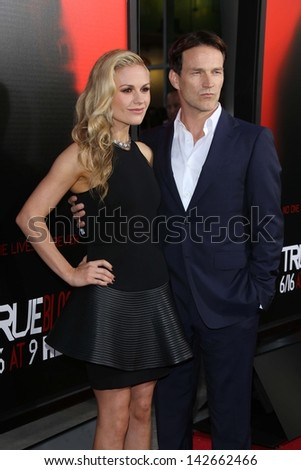 "Anna Paquin and Stephen Moyer at the ""True Blood"" Season 6 Premiere, Cinerama Dome, Hollywood, CA 06-11-13"