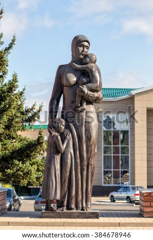 Anna, Russia - October 8, 2015: Monument to women - widows, mothers, rendered the severity and distress of war. It was opened in 2005 before the 60 th anniversary of Victory in the Great Patriotic War - stock photo