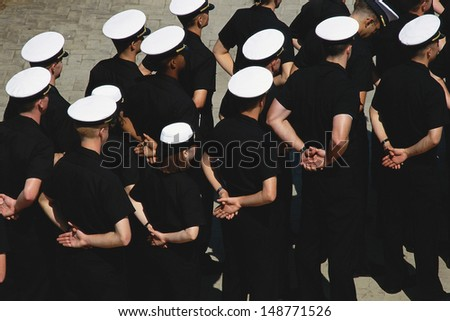 ANNAPOLIS, MARYLAND - CIRCA 1987: Midshipmen in formation, US Naval Academy, Annapolis, MD - stock photo