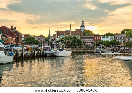 annapolis maryland harbor on summer afternoon