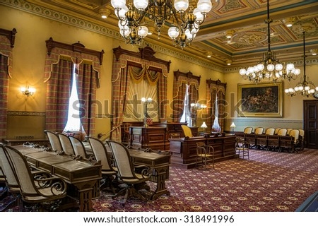 Annapolis, Maryland, June 26,2015:  State of Maryland completed an extensive restoration of its historic House of Delegates at the state capital in Annapolis.  The chamber is shown on June 26, 2015. - stock photo