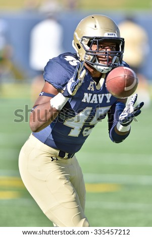 ANNAPOLIS, MD - OCTOBER 31: Navy Midshipmen linebacker D.J. Palmore (45) prior to the AAC game October 31, 2015 in Annapolis, MD.  - stock photo