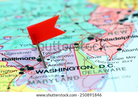 Annapolis pinned on a map of USA  - stock photo