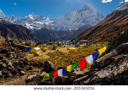 Annapurna Base Camp (4180m) in the morning, Himalayas, Nepal - stock photo