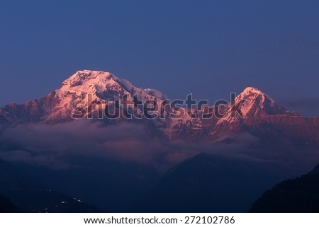 Annapurna I Himalaya Mountains in Nepal at sunrise - stock photo