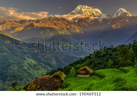 Annapurna South in the morning, Himalayas, Nepal - stock photo
