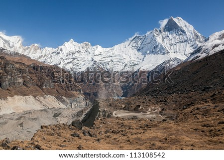 Annapurna wall and main circus glacier - Nepal