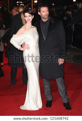 Anne Hathaway and Hugh Jackman arriving for the premiere of 'Les Miserables' at Leicester Square, London. 05/12/2012 Picture by: Alexandra Glen / Featureflash - stock photo