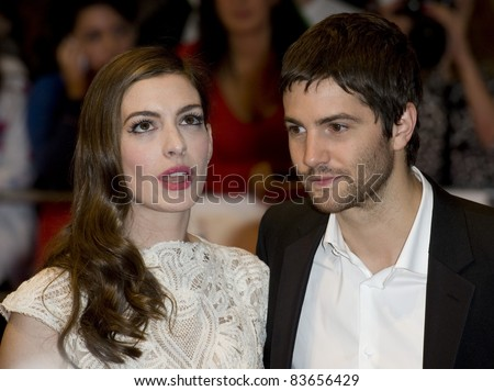 Anne Hathaway and Jim Sturgess arriving for the UK premiere of One Day at the Vue Cinema in, Westfield, London. 23/08/2011  Picture by: Simon Burchell / Featureflash - stock photo