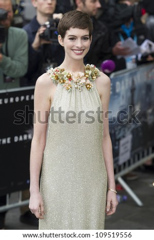 """Anne Hathaway arriving for European premiere of """"The Dark Knight Rises"""" at the Odeon Leicester Square, London. 18/07/2012 Picture by: Simon Burchell / Featureflash - stock photo"""