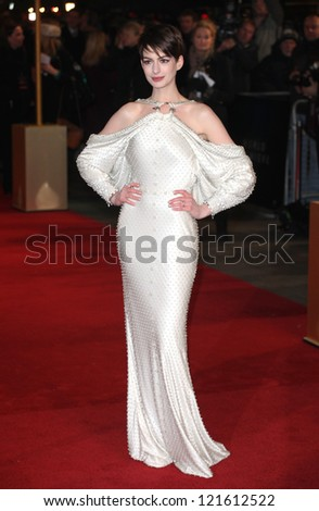Anne Hathaway arriving for the premiere of 'Les Miserables' at Leicester Square, London. 05/12/2012 Picture by: Alexandra Glen - stock photo