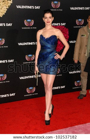 """Anne Hathaway  at the """"Valentine's Day"""" World Premiere, Chinese Theater, Hollywood, CA. 02-08-10 - stock photo"""