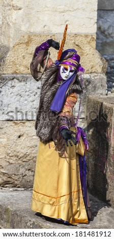 ANNECY, FRANCE, FEB 24:Portrait of an unidentified person disguised dancing in Annecy, France,on February 24, 2013.Every year here is held a Venetian Carnival to celebrate the beauty of real Venice.